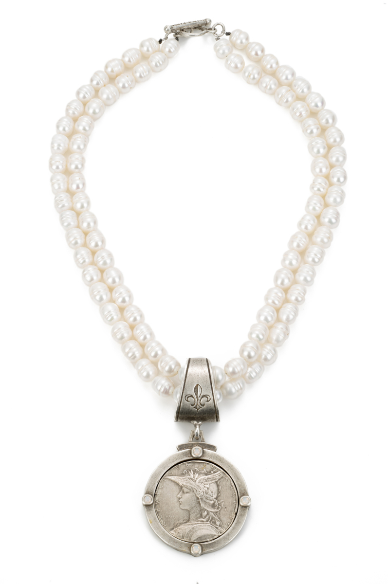 DOUBLE STRANDED WHITE PEARL WITH MINISTRY MEDALLION