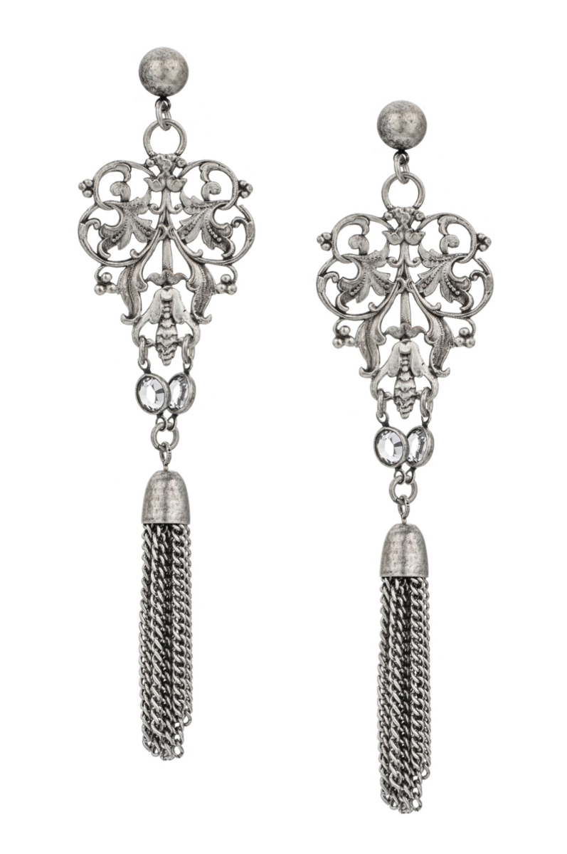 FRENCH FILIGREE EARRINGS WITH SWAROVSKI DANGLES AND TASSELS