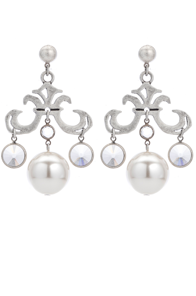 GRAND FLEUR EARRINGS WITH SWAROVSKI AND PEARL DANGLES