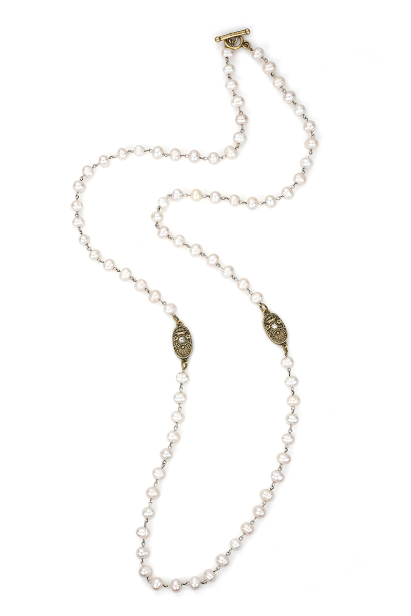 WHITE PEARL WITH BRASS WIRE AND SWAROVSKI CUVEE PENDANTS