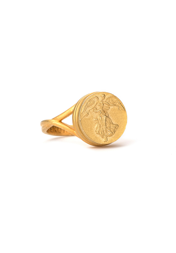 SWIRL RING WITH CHOICE OF MEDALLION GOLD