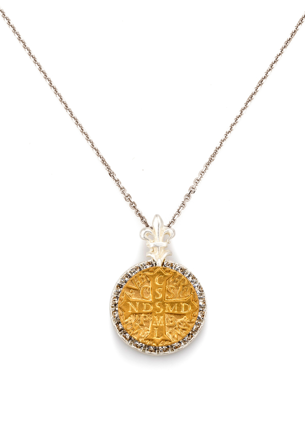 SILVER MIXED LA ROCHELLE NECKLACE WITH CHOICE OF MEDALLION
