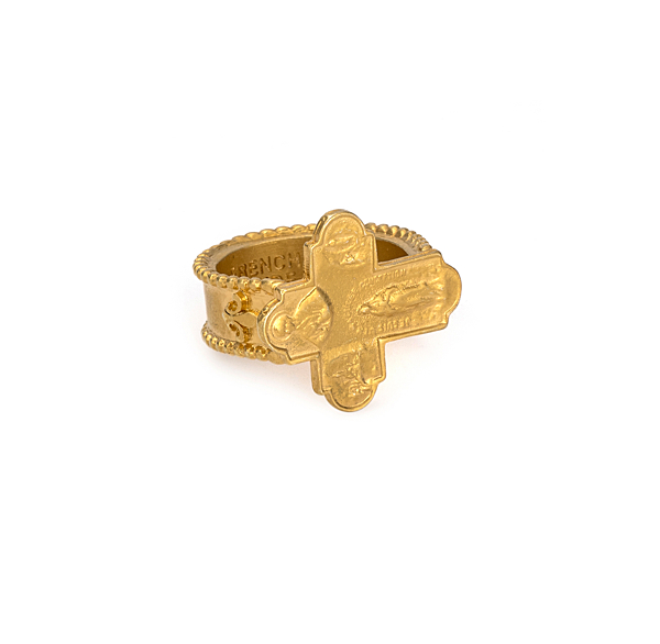 GOLD LOURDES CROSS RING