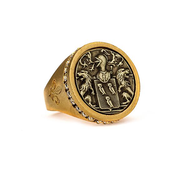 GOLD SWAROVSKI SIGNET RING WITH MARCEAUX MEDALLION