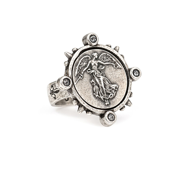 SILVER SPIKED RING WITH MINI L'ANGE MEDALLION