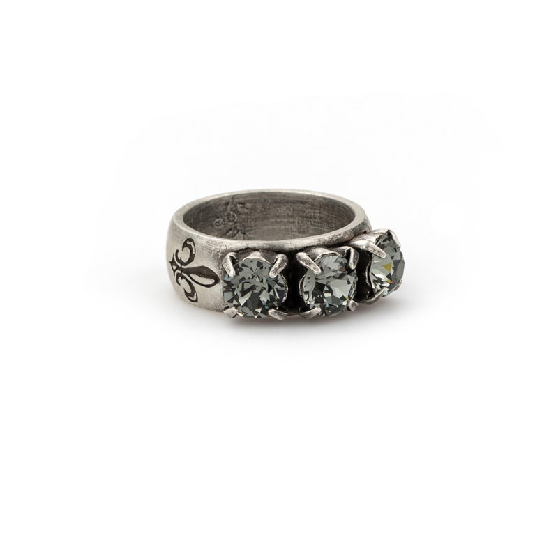 BLACK DIAMOND TRIPLE SWAROVSKI RING