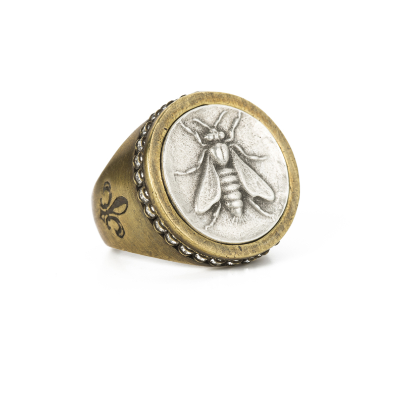 SWAROVSKI SIGNET RING WITH SILVER MINI ABEILLE MEDALLION