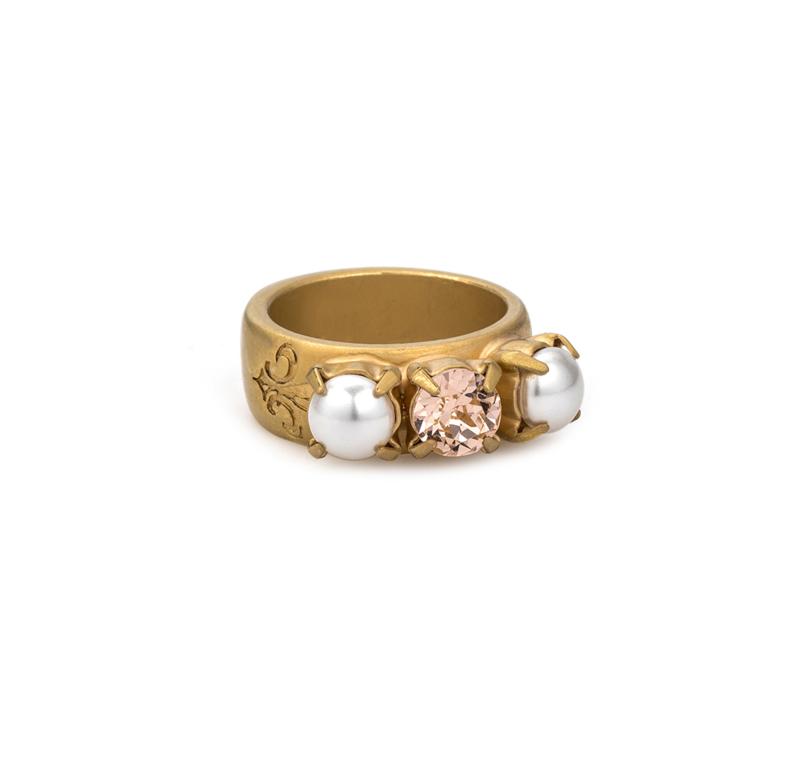 GOLD TRIPLE SWAROVSKI & PEARL RING