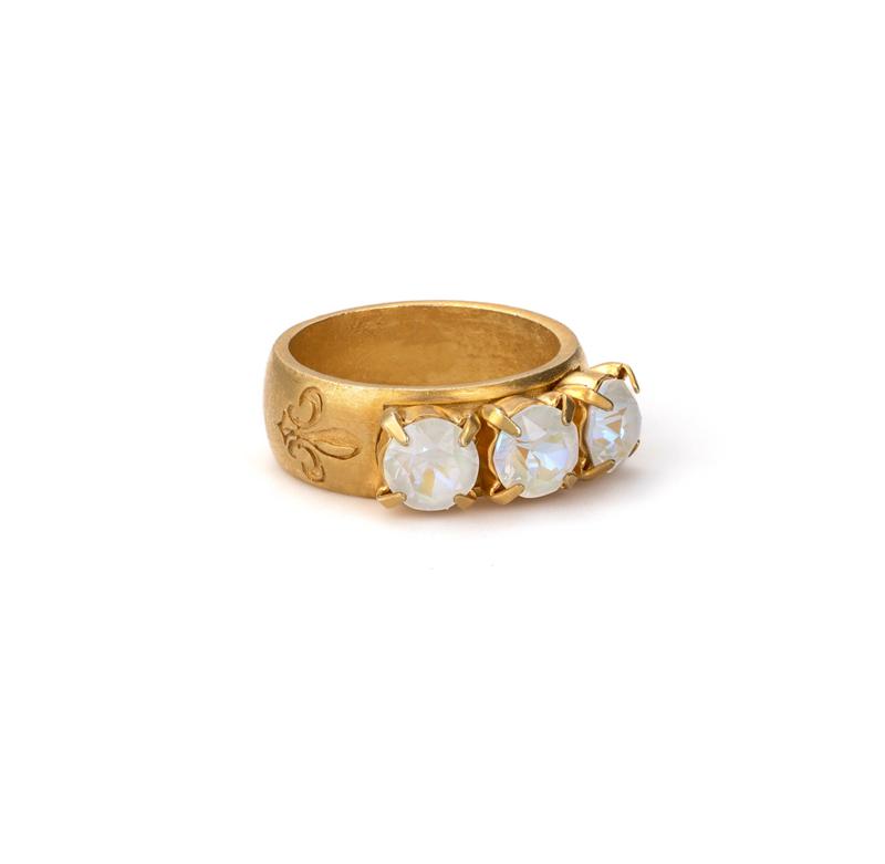 GOLD LIGHT GREY DELITE TRIPLE SWAROVSKI RING