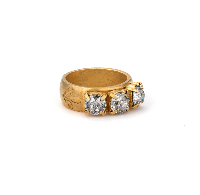 GOLD PATINA TRIPLE SWAROVSKI RING