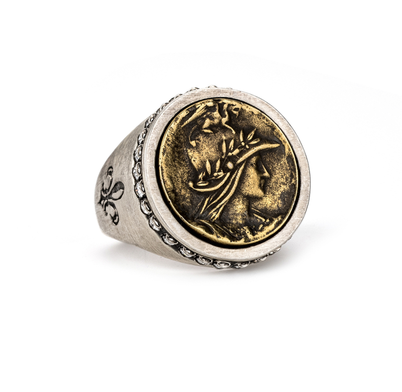 SILVER SWAROVSKI SIGNET RING WITH MINI MINISTRY MEDALLION