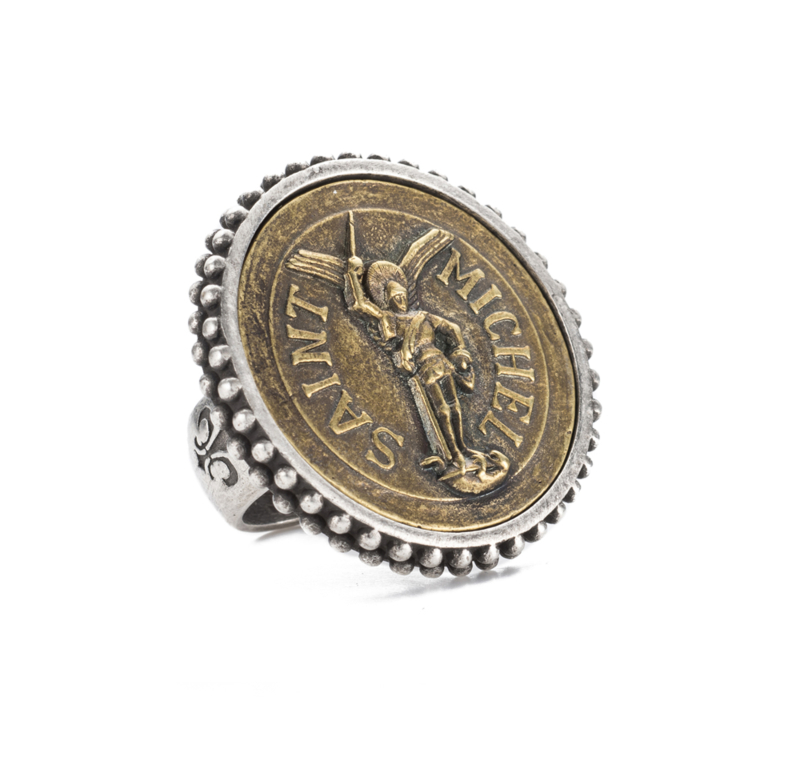 POINTE BEZEL RING WITH ST. MICHEL MEDALLION