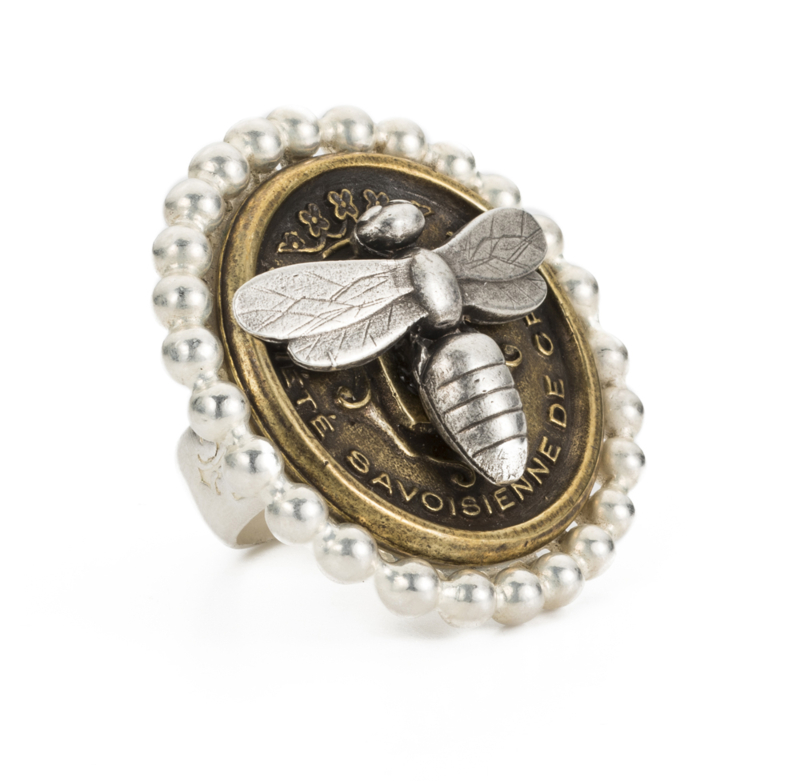 PETITE BEZEL RING WITH CENTENNIAL MIEL STACK
