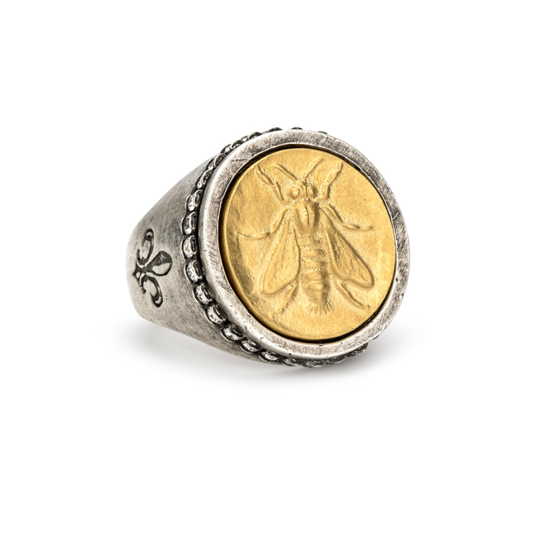 SWAROVSKI SIGNET RING WITH 14K GOLD MINI ABEILLE MEDALLION