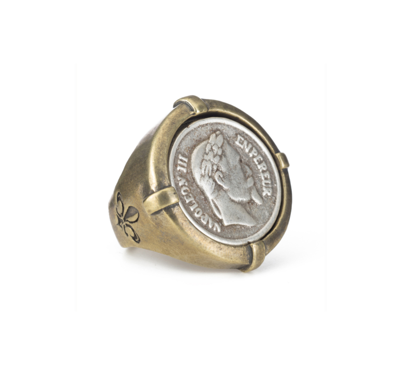 SIGNET RING WITH SILVER NAPOLEON MEDALLION