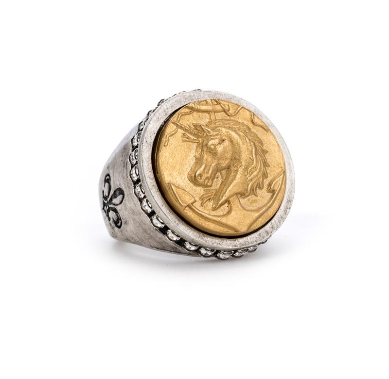 SWAROVSKI SIGNET RING WITH 14K GOLD COLONIES MEDALLION