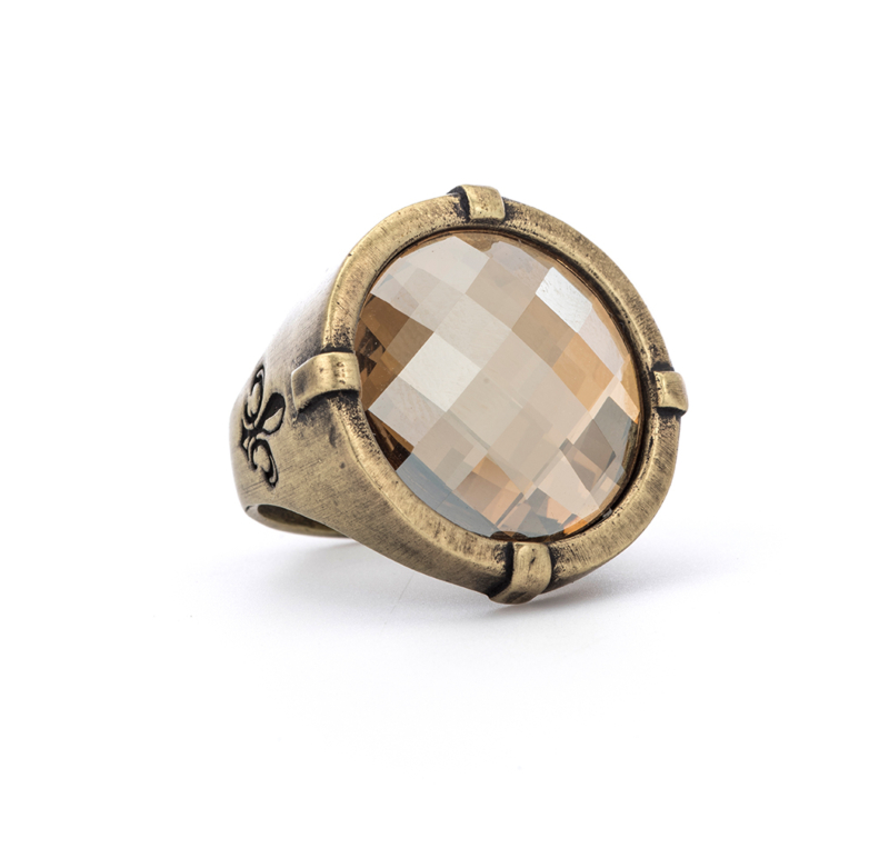 SIGNET RING WITH GOLDEN SHADOW CHECKERBOARD SWAROVSKI CABOCHON