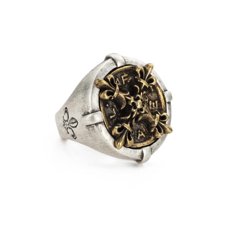 SIGNET RING WITH BRASS X MEDALLION