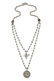 BLACK DIAMOND SWAROVSKI WITH SILVER WIRE AND ALSACE CHAIN, UN DEMI MEDALLION AND MIEL PENDANT