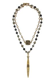 DOUBLE STRAND MIDNIGHT MIX WITH BRASS WIRE, SWAROVSKI, X MEDALLION AND POINTU PENDANT