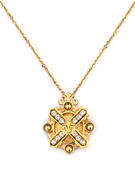 ARLES NECKLACE WITH SWAROVSKI KISS STACK GOLD