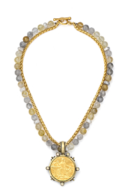 DOUBLE STRAND GOLDEN MIX AND CHAIN WITH GOLD COMITE MEDALLION