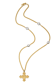 GOLD PETITE CHEVAL CHAIN WITH SWAROVSKI AND LA TRIELLE MEDALLION