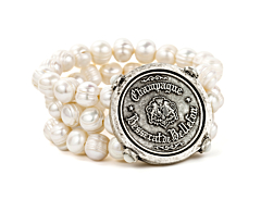 TRIPLE STRANDED WHITE PEARL WITH CHAMPAGNE MEDALLION