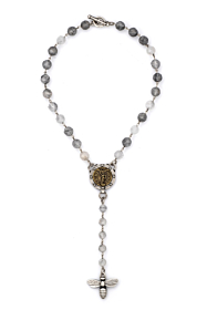 FACETED CLOUDY QUARTZ WITH SILVER WIRE, SAINT MICHEL MEDALLION AND MIEL PENDANT