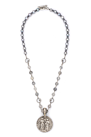 FACETED CLOUDY QUARTZ WITH SILVER WIRE, SWAROVSKI ACCENTS, SILVER PEARLS AND REPUBLIQUE MEDALLION