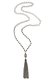 BABY BUBBLE CHAIN WITH BLACK DIAMOND SWAROVSKI, SWAROVSKI CUVEE PENDANTS AND TASSEL