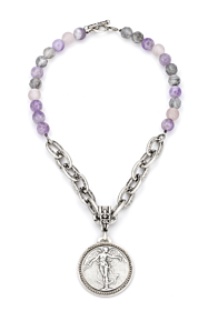 LAVENDER MIX WITH LOURDES CHAIN AND L'ANGE MEDALLION