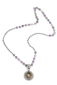 LAVENDER MIX WITH SILVER WIRE, BORDEAUX CHAIN AND CENTENNIAL HEART STACK MEDALLION