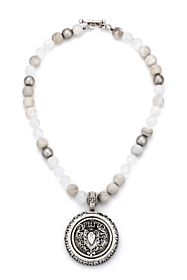 LINEN MIX AND CENTENNIAL HEART STACK MEDALLION WITH SWAROVSKI
