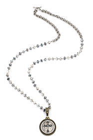 SILVERITE WITH SILVER WIRE, DOUBLE CABLE CHAIN AND REX CROSS STACK MEDALLION