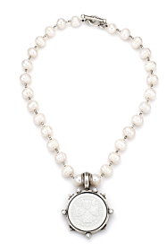 PEARLS AND HEISHI WITH WHITE UN DEMI MEDALLION