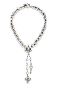 LOURDES CHAIN WITH IMMACULATE HEART RELIER, SWAROVSKI, CROSS AND KEY DANGLES