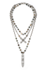 TRIPLE STRAND MEDITERRANEAN MIX WITH SILVER WIRE, ALSACE CHAIN, SWAROVSKI FRENCH KISS AND SWORD & CROWN PENDANT