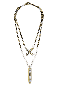 PEARLS WITH SILVER WIRE, ALSACE CHAIN, SWAROVSKI FRENCH KISS AND SWORD & CROWN PENDANT
