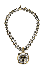 DOUBLE STRAND CHARTREUSE PEARL AND PYRITE WITH SILVER WIRE AND CANARD FLEUR STACK MEDALLION