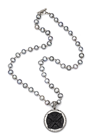 SILVER PEARLS WITH SILVER WIRE, SWAROVSKI AND BLACK CUVEE B MEDALLION