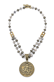 HALF DOUBLE STRAND SILVERITE AND PYRITE WITH LAREN MEDALLION