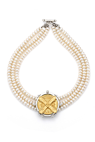 TRIPLE STRAND PEARL WITH GOLD CUVEE B MEDALLION