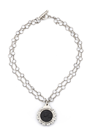 DOUBLE STRAND SWAROVSKI WITH BLACK PETITE JOAN MEDALLION