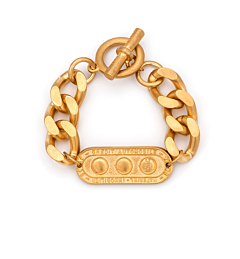 GOLD BEVEL CHAIN WITH LILLE MEDALLION
